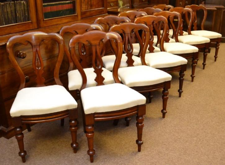 12 Original Viktorianische Mahagoni Esszimmerstühle von ca. 1870