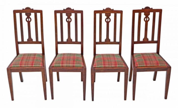 Set aus 4 Jugendstil-Esszimmerstühlen aus Eiche von ca. 1910
