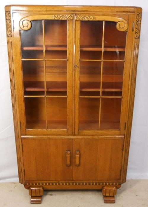 Bücherschrank aus Eiche, golden um 1920 SA2042c
