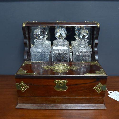 Viktorianischer antiker Palisander Flaschenhalter Tantalus Spiel Box 1850