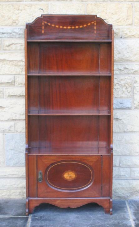 Mahagoni Intarsien offenes Bücherregal im georgischen Stil von circa 1900