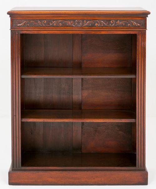 Viktorianisches offenes Bücherregal aus Nussbaum aus dem Ende des 19.JH