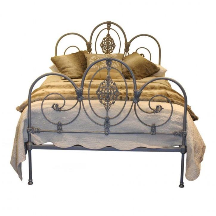 Original antikes Bett, grau-gold, England 1880