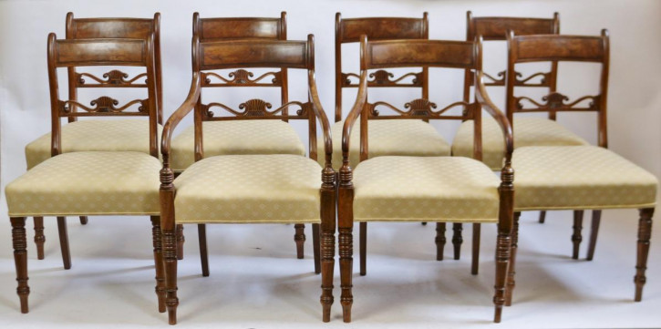 8 Original George III Massivholz Mahagoni Armstühle Stühle Set 1790 georgianisch