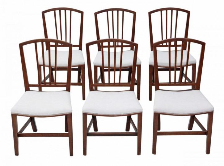 6 original viktorianische Esszimmer Stühle Massivholz Mahagoni Georgian Revival