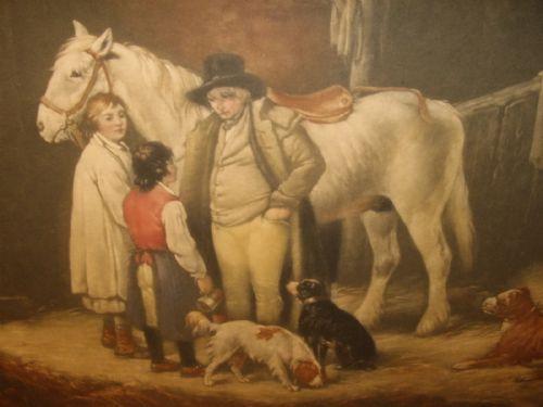 Viktorianischer Druck nach Shayler von Pferd und Hunden in einer Scheune aus der Mitte des 19.JH