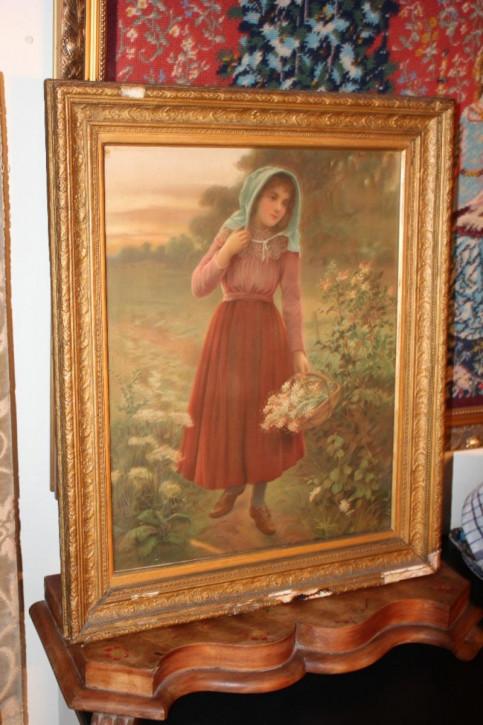 Mädchen mit Blumen aus Birnen-Druck aus dem 19.JH