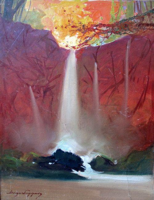 Französisches Ölgemälde der Reunion Insel von 1910 la Bernica Wasserfall von ange Jacques supparo (1870-1948)