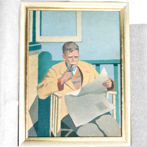 Portraits eines Großvaters, der Pfeife raucht von ca. 1930 Ölgemälde