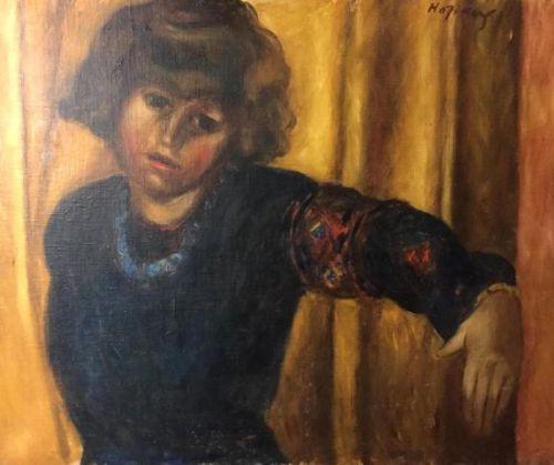 "Kendal Coles Hopkins ""junge Frau in Paris"" von ca. 1930, antikes Ölgemälde"