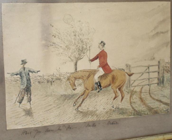 Antikes edwardianisches englisches humorvolles Fuchsjagd Aquarell von ca. 1900