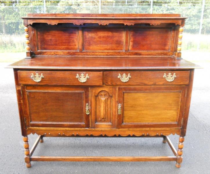 Jakobinisches antikes Dresser Sideboard Massivholz Eiche 1920