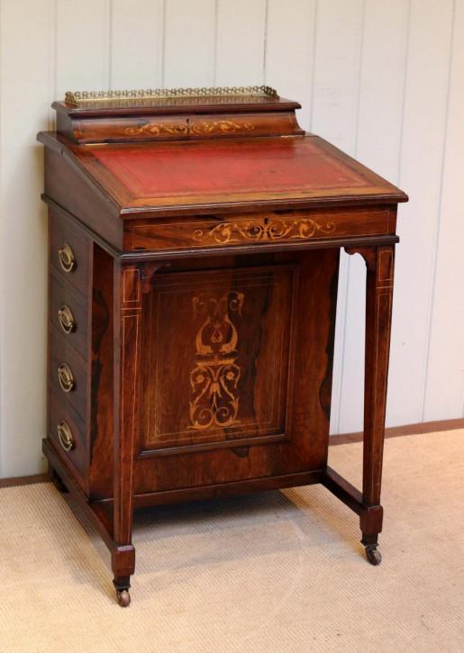 Spätviktorianischer antiker Davenport Schreibtisch, Palisanderholz, 1880