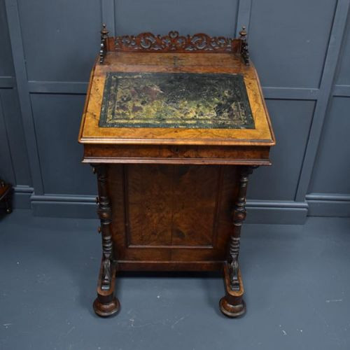 Original antiker viktorianischer Davenport Schreibtisch aus Walnussholz, 19. Jahrhundert