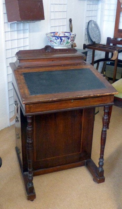 Original antiker Edwardian Davenport Schreibtisch, 19. Jahrhundert, Mahagoni