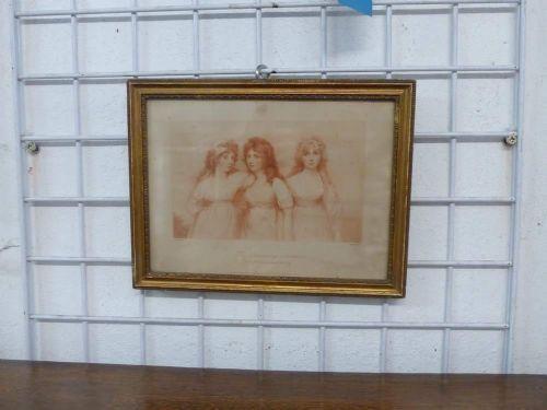 Original antike Die Drei Grazien, Stich