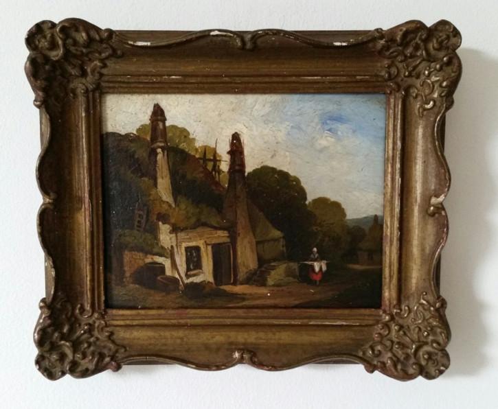 Original Ölgemälde einer ländlichen Szenerie, 19 Jahrhundert