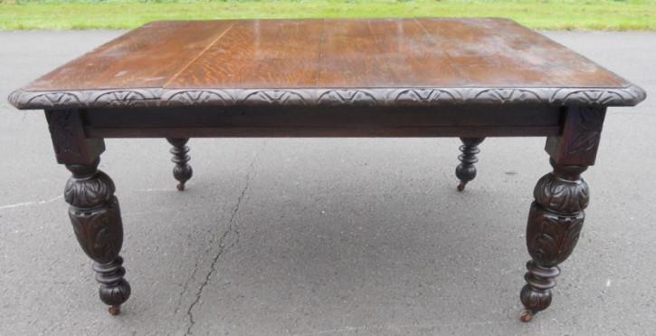 Viktorianischer Esstisch aus geschnitztem Eichenholz von ca. 1860