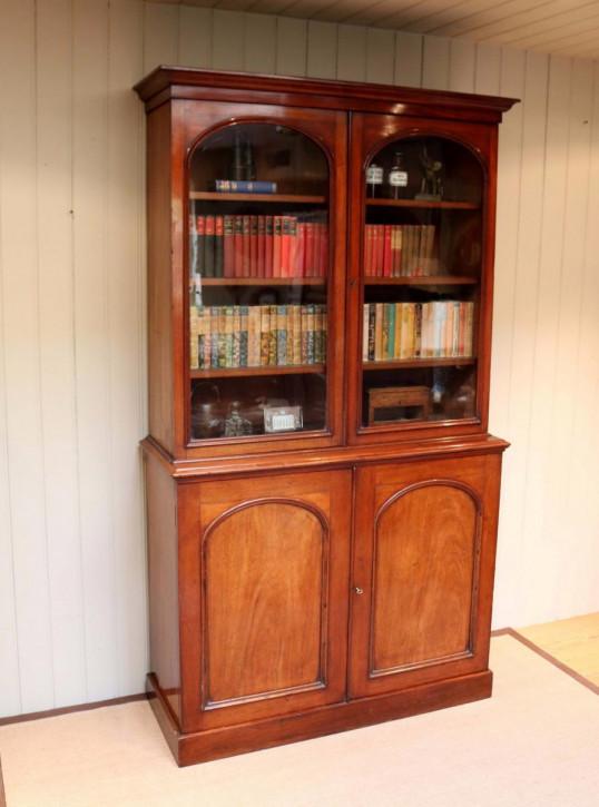 Englisches antikes Mahagoni Bookcase, Mahagoni Massivholz, 1880