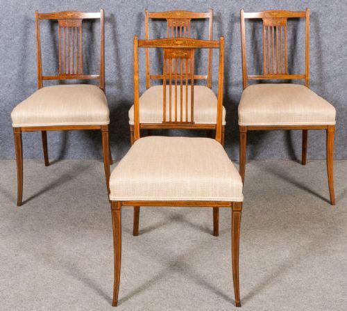 Britisches antikes Set 4 Esszimmerstühle, 1900, Palisander