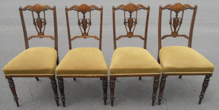 4teiliges Stuhlset, Edwardian Mahagoni Salon Chairs, 1900
