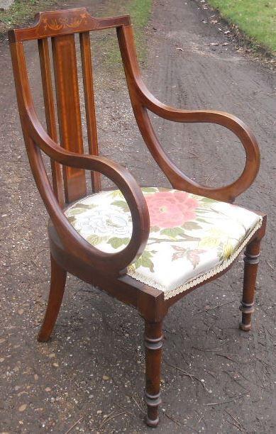 Edwardianischer original antiker Intarsien Mahagoni Salon Stuhl massiv
