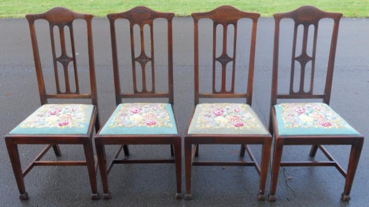 Original edwardianische Mahagoni Stühle Esszimmerstühle massiv 4 Stück 1900