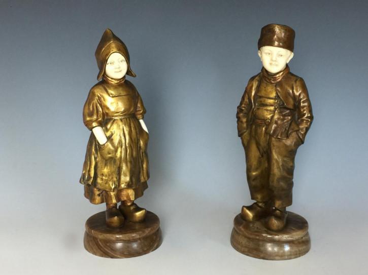 Ein Paar Bronze & Elfenbein holländische Figuren von Joseph Daste von ca. 1910