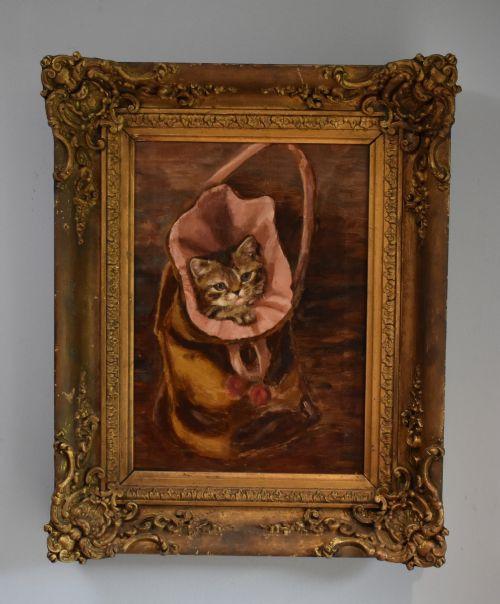 Viktorianisches antikes Ölgemälde, Malerei einer Katze, 1900