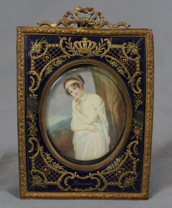 Miniaturölgemälde, 19. Jahrhundert, vergoldeter Metallrahmen