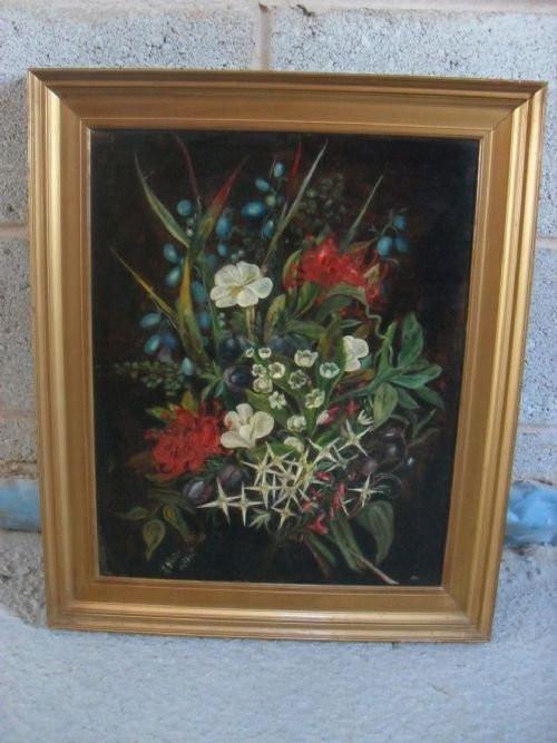 Ölgemälde Original 19. Jahrhundert, florales Stillleben