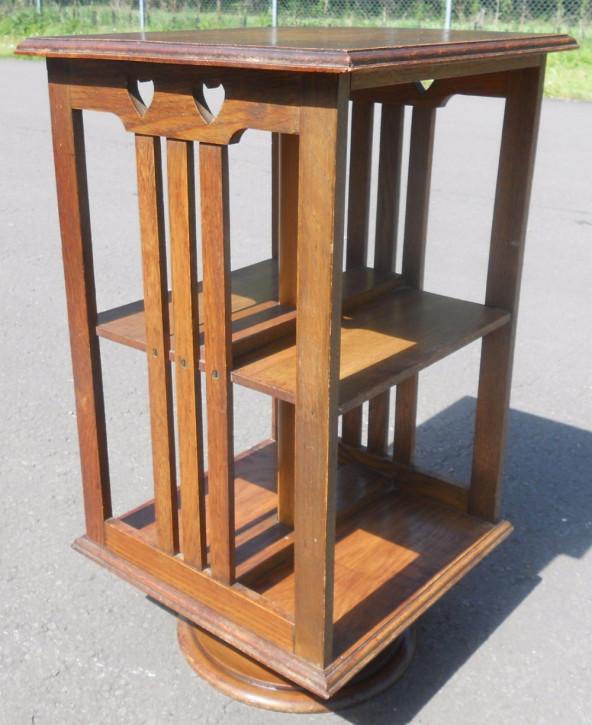 Arts & Craft kleines drehbares Bücherregal aus Eiche von ca. 1900
