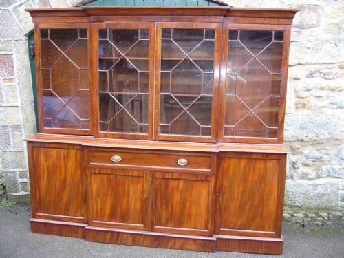 Viktorianisches Mahagoni Secretaire Breakfront Bücherregal aus der 2.Hälfte des 19.JH