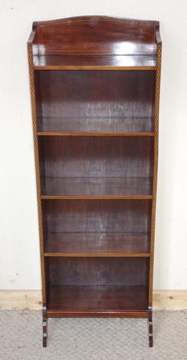 Kleines & schmales Edwardian offenes Bücherregal aus Mahagoni von ca. 1900