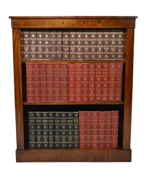 Offener viktorianischer Bücherschrank aus Nussbaum mit Intarsien von ca. 1870