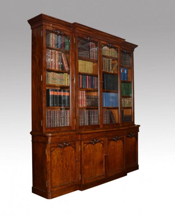 Viktorianischer Mahagoni Breakfront Bücherschrank antik mit Sekretär massiv 1850