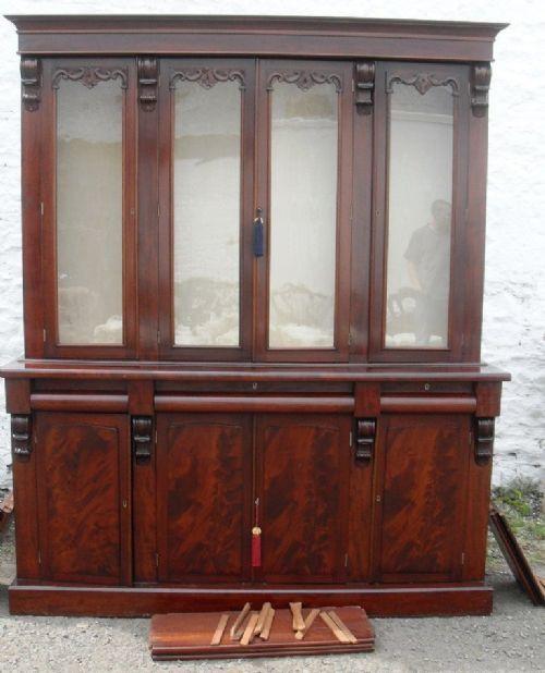 Antiker englischer Mahagoni Bücherschrank Massivholz 1850