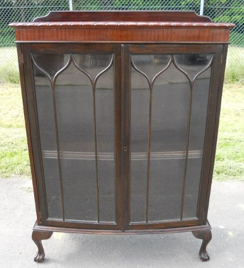 Antike englische Mahagoni Vitrine Chippendale Style 1920