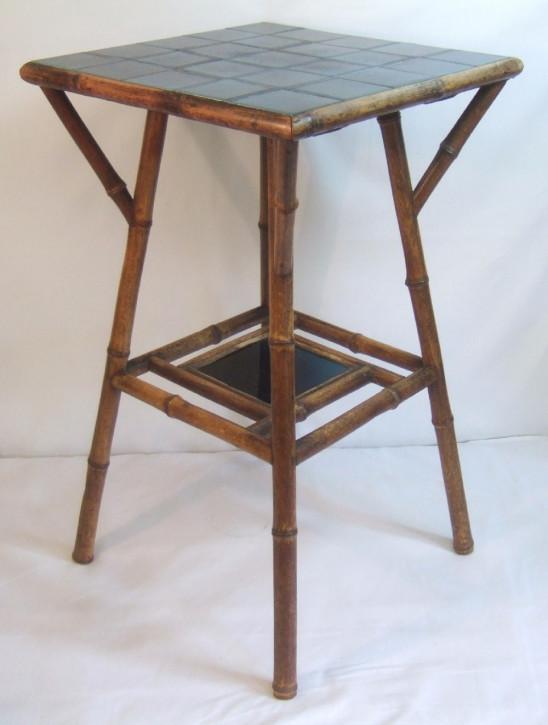 Original antiker Beistelltisch Bambus und Fliesen