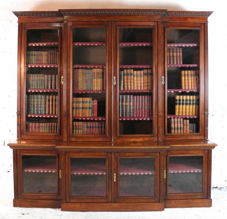 Viktorianischer Breakfront Mahagoni Bücherschrank Vitrine antik massiv 1880