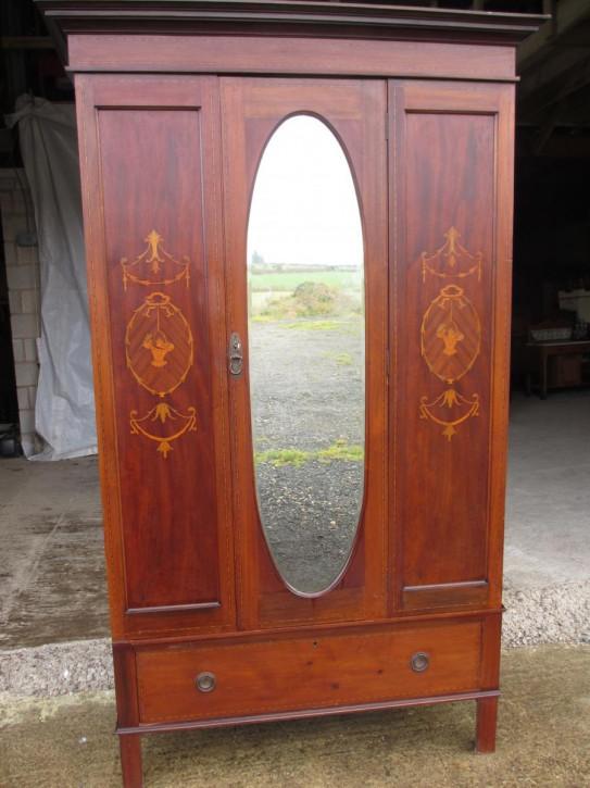 Original edwardischer Kleiderschrank Mahagoni Massivholz 1890