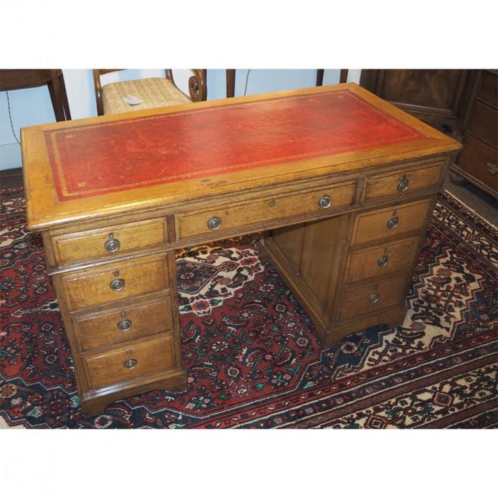 Viktorianischer antiker massiver Schreibtisch Eiche 1870