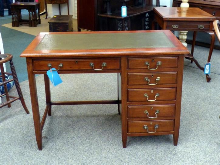 Großer original edwardischer antiker Massivholz Mahagoni Schreibtisch 1890