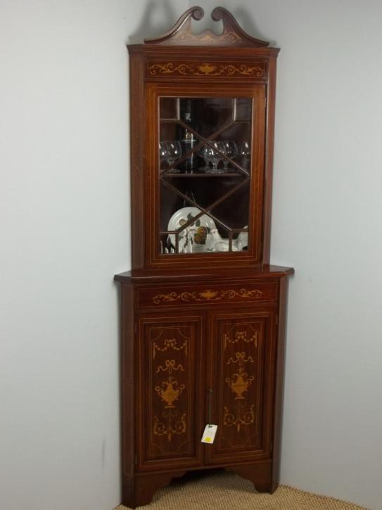 Schöner Mahagoni Eckschrank Vitrine Wohnzimmerschrank original edwardisch massiv 1900