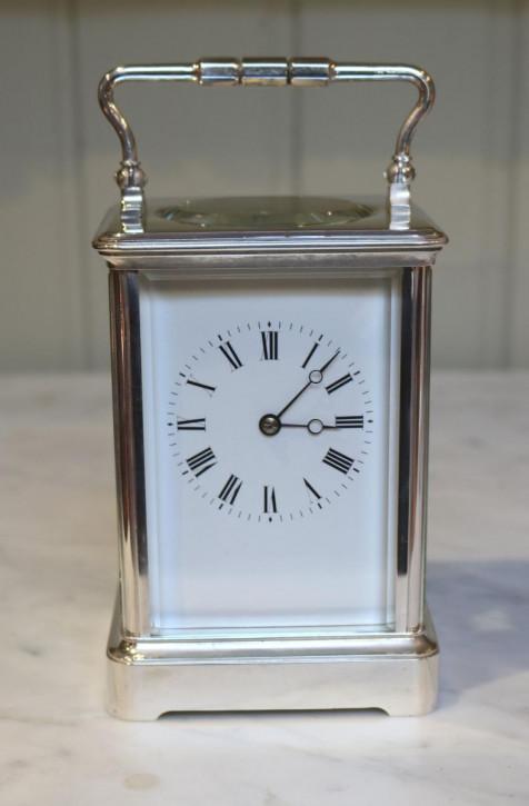 Große französische Uhr silber Kutschenuhr original antik 1890