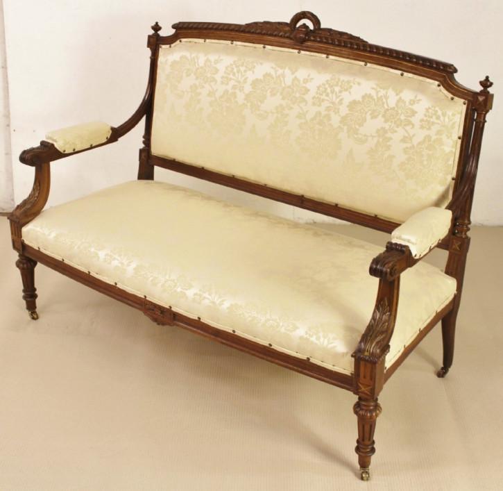 Französische original antike Sitzbank Sofa Settee Nussbaum massiv 1890