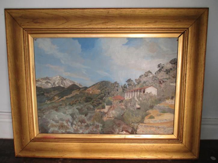 Ölgemälde auf Leinwand mediterraner Ausblick original 1920