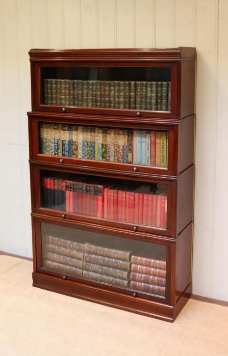 Original antikes englisches Mahagoni Globe Wernicke Stil Bücherregal massiv 1920