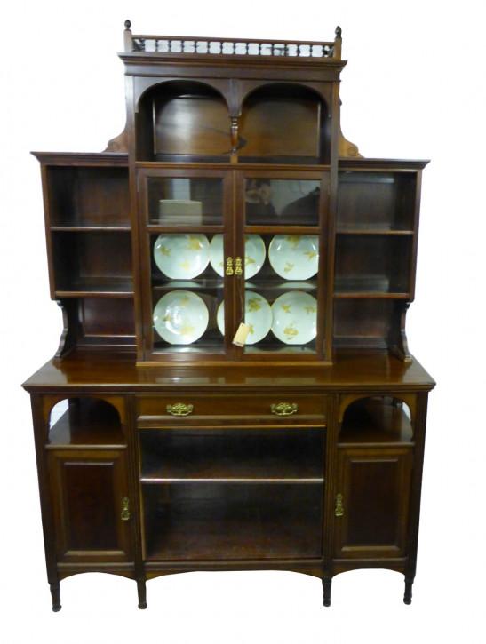 Antiker viktorianischer Mahagoni Buffetschrank Wohnzimmerschrank massiv englisch 1900