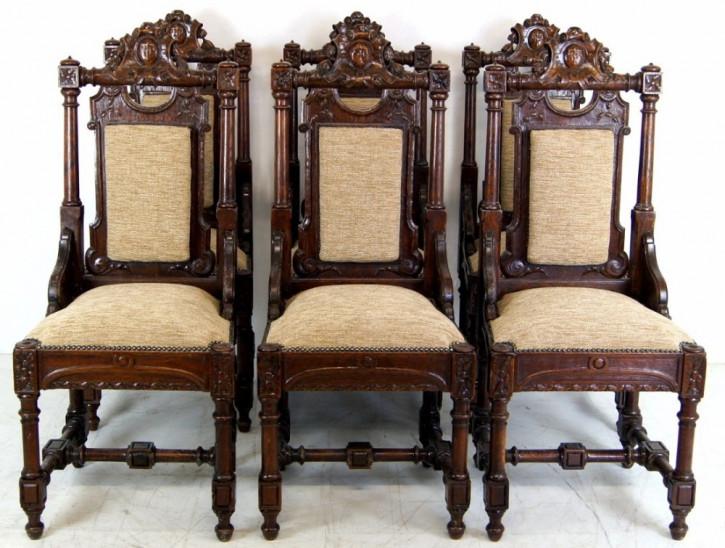 Antikes Set von 6 Landhaus Stühlen Eiche Massivholz ca. 1880